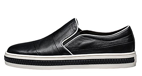 Santimon Men Fashion Sneakers Pointed Shoes Silp On Penny-Loafer Shoes Black ttavxQ