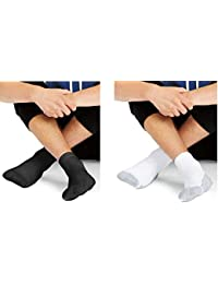 Mens X-Temp Comfort Cool Vent Crew Socks (Black & White,...