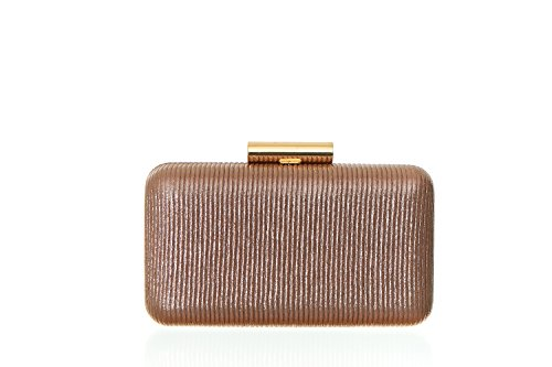 Women's Metallic Ribbed Minaudière Evening Clutch Handbag with Top Clasp -