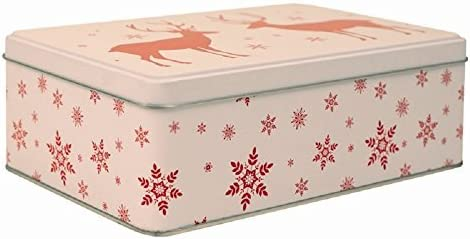 1 x redondo Navidad Metal Almacenamiento tartas/galletas/chocolate caja rectangular o: Amazon.es: Hogar