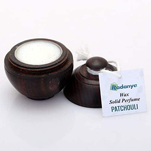 Natural Patchouli Fragrance Solid Perfume Body Musk Natural Wax in Mini Wooden Box for Men and Women - 6 Gram