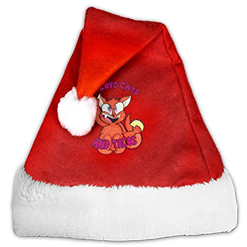 1 Pack I Love Cats and Tacos by Izzy Santa Hat Adult/Kid Size Winter Plush New Years Xmas Christmas Party Santa Hats Cap]()