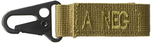 VooDoo Tactical 20-9723007000 Blood Type Tag - A Neg A Negative/Brown Letters, Coyote Webbing