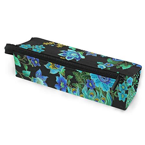(Glasses Case Enchanted Plume Beautiful Peacock Black Multi-Function Zippered Pencil Box Makeup Cosmetic Bag for Women/Men)