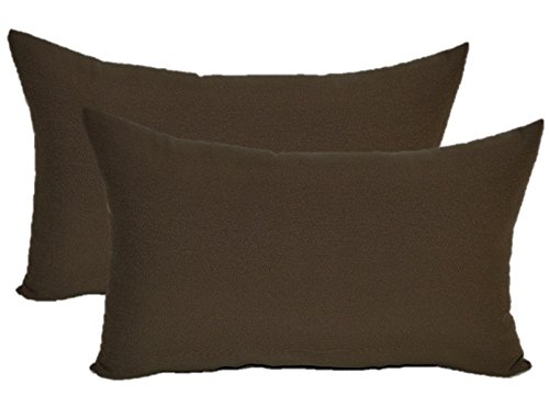 Set of 2 - Indoor / Outdoor Jumbo, Large, Over–sized, Rectangle / Lumbar Chaise Lounge Decorative Throw / Toss Pillows - Solid Dark Brown