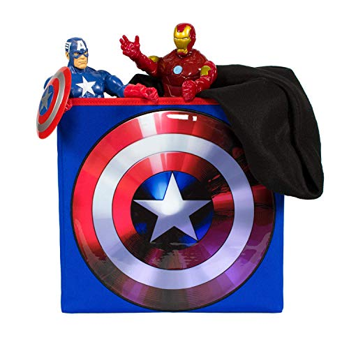 Everything Mary Captain America Collapsible Storage Bin by Marvel - Cube Organizer for Closet, Kids Bedroom Box, Playroom Chest - Foldable Home Decor Basket Container with Strong Handles and Design -