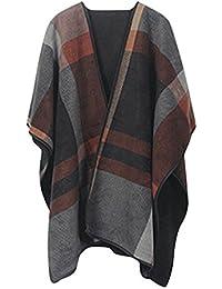 Women Winter Reversible Oversized Fleece Blanket Poncho Cape Shawl Coat