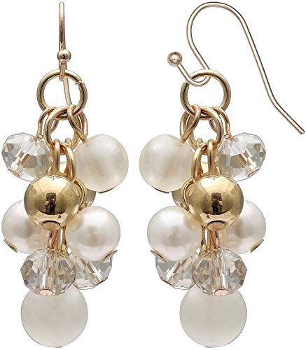 Bay Studio Faux Pearl & Gold Ball Bead Cluster Earrings White/gold tone