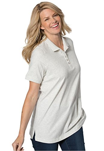 Women's Plus Size Top, Perfect Polo Short-Sleeve T-Shirt Heather (Cropped T-shirt Jersey)