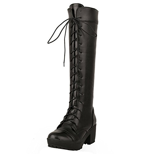 Chunky Winter Heel Lace Up Women Shoes Boots TAOFFEN Western Black Long E7CwRWEq4