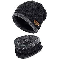 Beanie Hat Scarf Set Winter Warm Wool Lining Men and Women Knit Cap Scarf