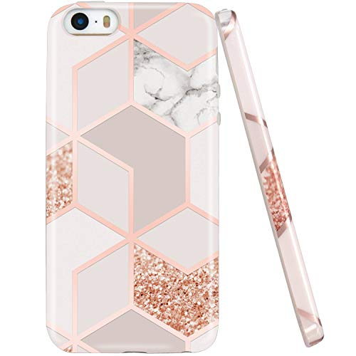 JAHOLAN Bling Glitter Sparkle Rose Gold Marble Marble Design Slim Shockproof Clear Bumper TPU Soft Case Rubber Silicone Cover Phone Case Compatible with iPhone 5 5S SE
