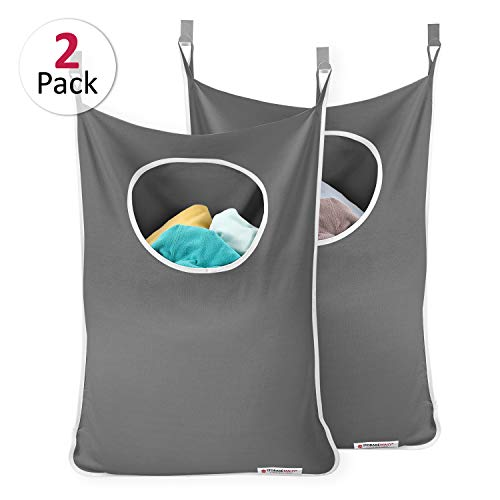 StorageMaid - Set of 2 - Door-Hanging Laundry Hamper with 2 Stainless Steel Hooks - Space Saving Laundry Organizer - On Wall for Small Spaces - with Bottom Zippers for Easy Emptying (Over Clothes Door The Hamper)