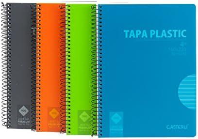 Casterli - Pack de 6 cuadernos espiral, tapa plástico, tamaño A5 ...