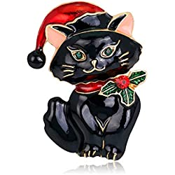 Yearkala Christmas Brooch Pins Cat Hat Cute Decor Corsage Charms Ornaments Jewelry Gifts