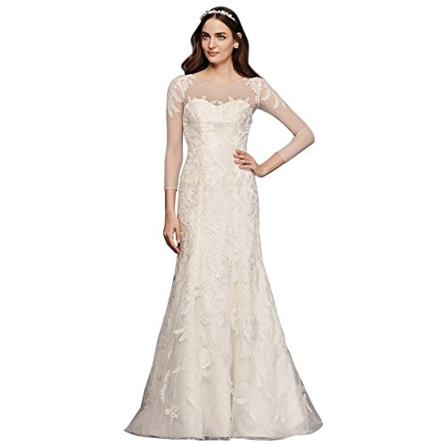 David's Bridal Oleg Cassini Lace Wedding Dress with 3/4 Sleeves Style CWG704, Ivory, (Oleg Cassini Davids Bridal)