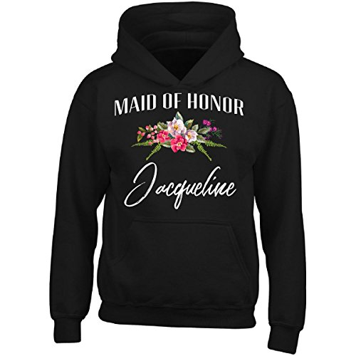 My Family Tee Maid of Honor Jacqueline Custom Name Bridal Party Gift - Adult Hoodie 5XL Black (Jacqueline Bridal Shop)