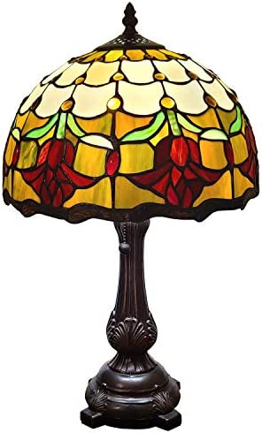 Demmex 2019 Turkish Moroccan Mosaic Table Bedside Night Tiffany Style Lamp for US Use, Red
