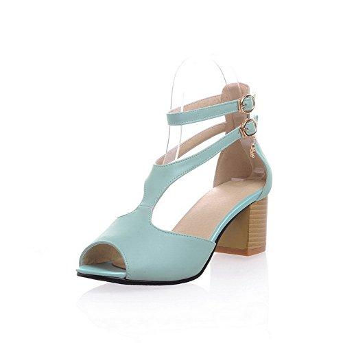 VogueZone009 Women's Pu Solid Buckle Open Toe Kitten Heels Sandals Blue
