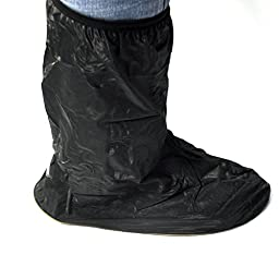 QUWEI Waterproof Springtime Summer Rainstorm Rainy Rainsuit For Snowmobiling Motorcycle Bike Cruiser Gear Boot Shoe Cover with Side Zipper Black Adult Mens US 10-11 (Euro 44-45)