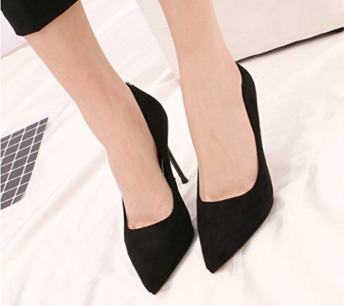 A MDRW Work Lady Spring With Temperament Mouth 39 High Fine Black Shoes Sexy Shallow Diamond All Heels Match Leisure Elegant 10Cm Suede ErFXwOyqr