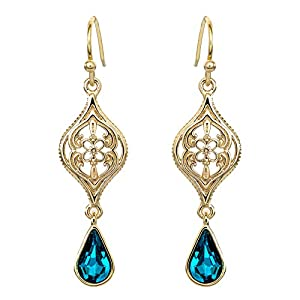 Disney Aladdin Princess Jasmine Yellow Gold Plated Crystal Dangle Earrings