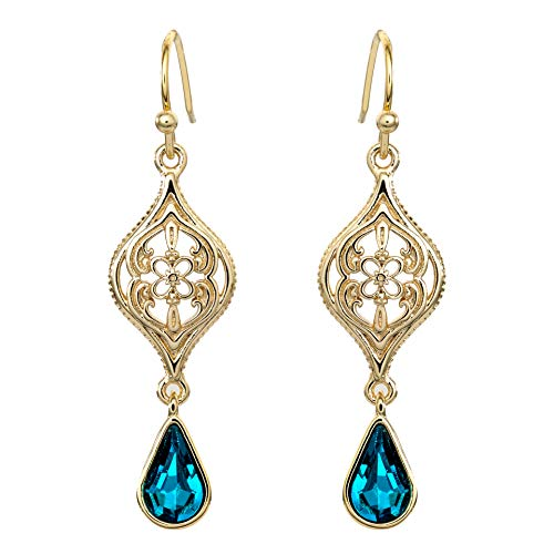 Disney Aladdin Princess Jasmine Yellow Gold Plated Crystal Dangle Earrings]()