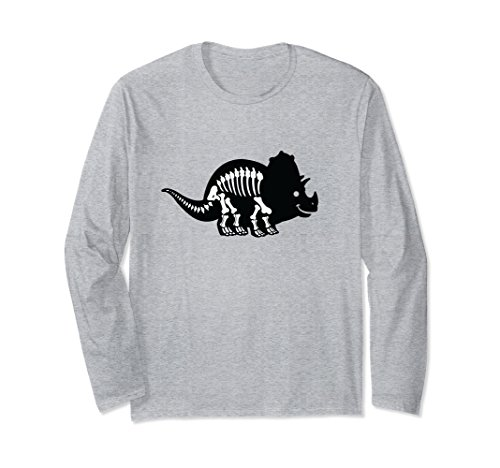Unisex Triceratops Fossil Long Sleeve Shirt | Dinosaur Skeleton Medium Heather Grey ()
