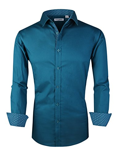 Joey CV Mens Casual Button Down Shirts Long Sleeve Regular Fit(Teal,XXLarge) by Joey CV