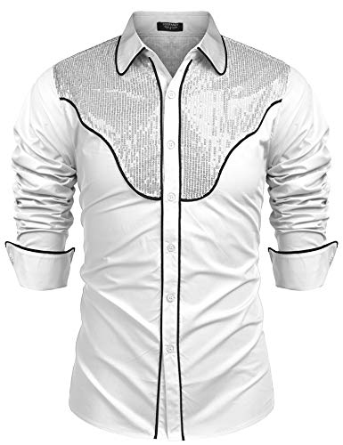 COOFANDY Mens Slim Fit Button Down Shirts Western Cowboy Embroidery Retro Shirt (White XXL)