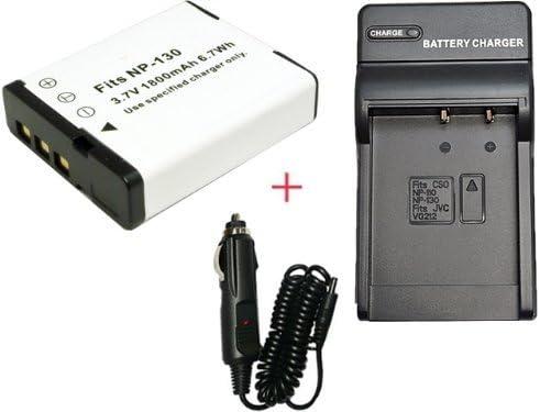 【堀出】 充電器セット CASIO NP-130 互換バッテリー + 充電器(コンパクト) EX-ZR1300 EX-H30 対応
