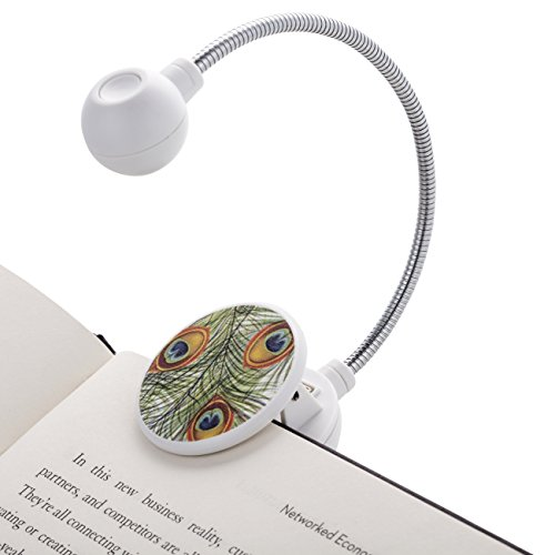 WITHit Disc Reading Light - LED Book Light with Chrome Neck for Books, E-Reader and E-Book Light... (Peacock)