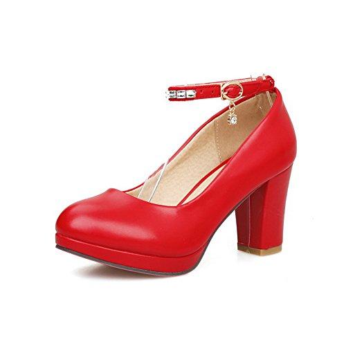 BalaMasa Ladies Rhinestones Chunky Heels Metal Buckles Urethane Pumps Shoes Red z5pG0F4dU