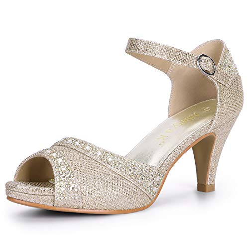 Allegra K Women's Peep Toe Glitter Ankle Strap Rhinestone Heels Champagne Gold Sandals - 9 M US by Allegra K