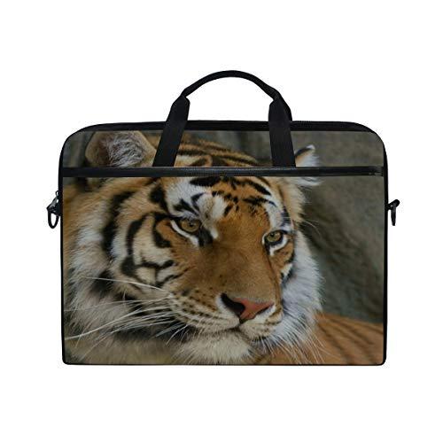 Rh Studio Laptop Bag Mustache Face Tiger Eyes Predator Laptop Shoulder Messenger Bag Case Sleeve for 14 Inch to 15.6 Inch with Adjustable Notebook Shoulder Strap