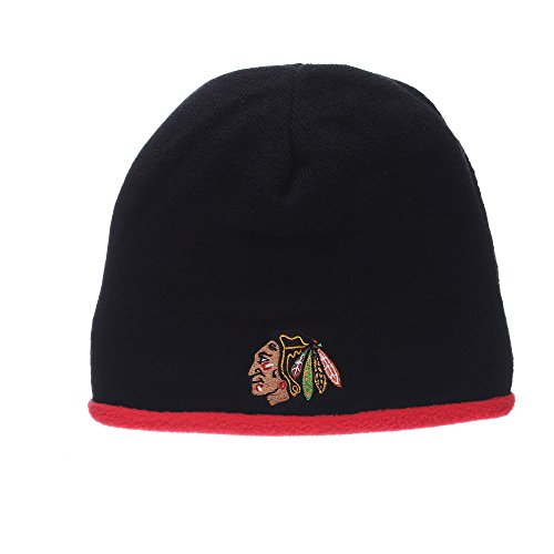 Chicago Blackhawks NHL Flip Out Reversible Knit Beanie Hat Black/Red