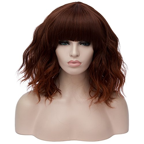 Alacos Candy Wigs, Fashion 35cm Short Curly Bob Anime Cosplay Wig Daily Party Christmas Halloween Synthetic Heat Resistant Wig for Women +Free Wig Cap