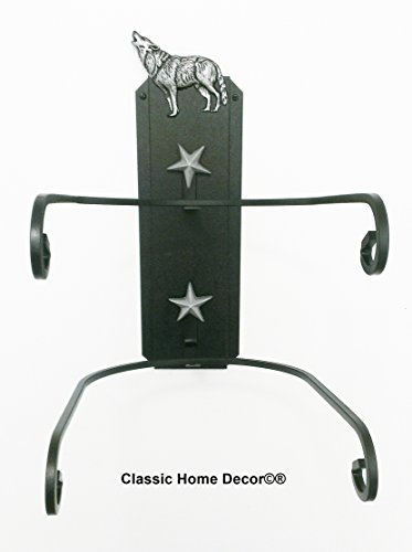 Cowboy Hat Holder Double with Wolf BLK American Made