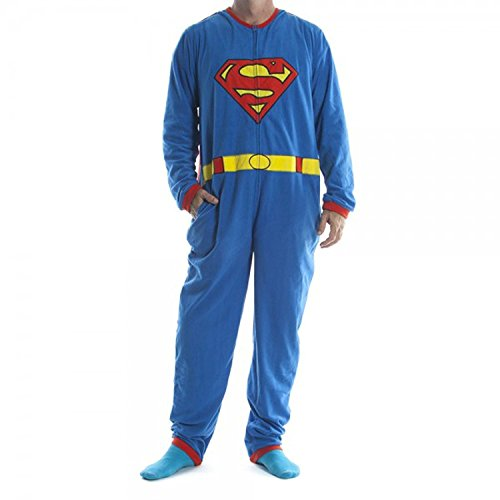 Superman Onesies For Adults (Old Glory Superman - Mens Costume Union Suit with Cape Small Blue)