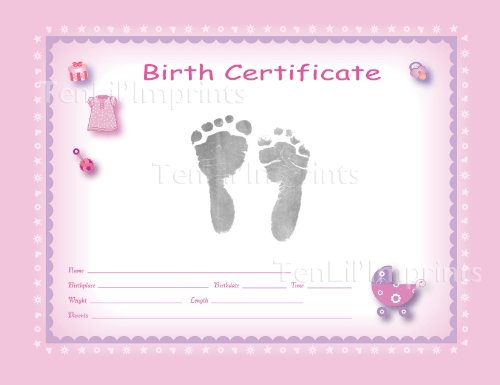 Amazon.com : TenLilu0027Imprints Birth Certificate Kit, Pink/Black : Baby Hand  And Footprint Makers : Baby  Pictures Of Blank Birth Certificates