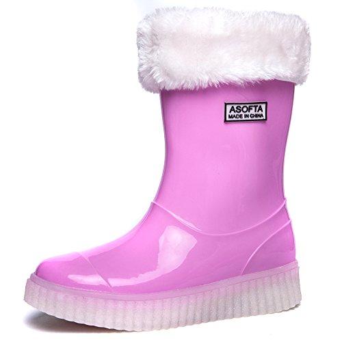 Asofta Kids Boys Girls Water Proof Led Light Up Mid Calf Snow Rain Boots  2 M  Us  Little Kid   33 Eu Fr   Pink