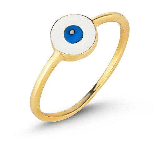 Unique Royal Jewelry Solid Sterling Silver Evil Eye Ring (Yellow-Gold-Plated-Silver, 9)