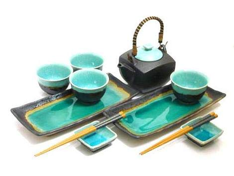 Japanese Dining Set - MySushiSet - 11 piece Ocean Breeze Sushi and Tea Set