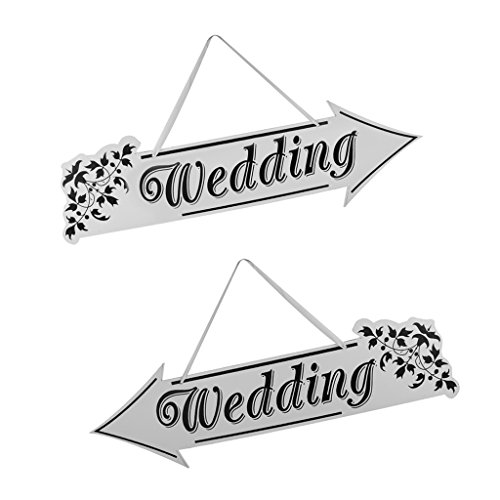 D DOLITY Wedding Reception Sign Directional Arrow With Satin Ribbon Decor Right+Left ()