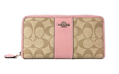 COACH ACCORDION ZIP WALLET IN SIGNATURE F54630 (SV/Light Khaki Carnation) (Coach Handbags Wallets)