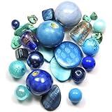 Assortiments de perles bleues