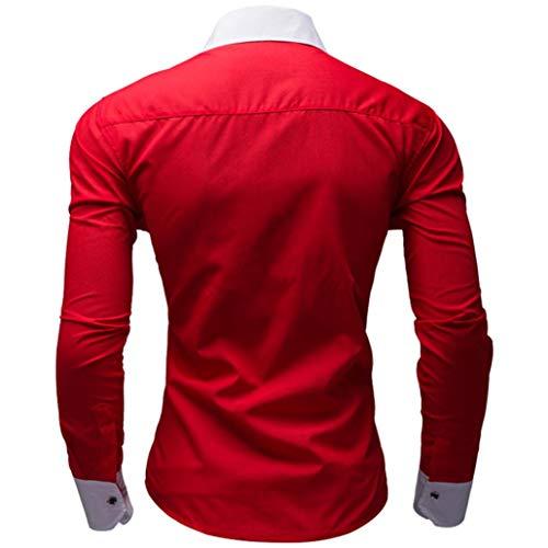 Larga Casual Color Rojo Covermason Camisa Hombre Negocio De Camisas Para Manga Puro dT4tTq