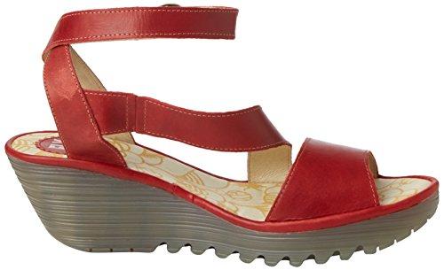 Mujer London Yesk Para Heels Sandals Rojo Fly wRXSgqH