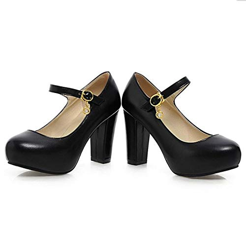 Mary Noir Chaussures Jane Taoffen Talon Escarpins Bloc Femmes q0HgtwZz