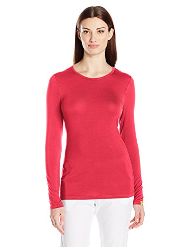 WonderWink Women's Scrubs Silky Long-Sleeve T-Shirt, Red, Small